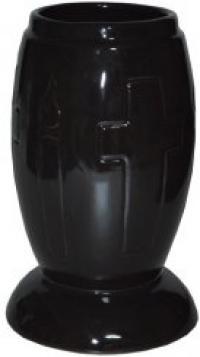 Vaza ceramica cimitir W1 - Negru
